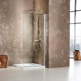 Walk-in shower glass panels